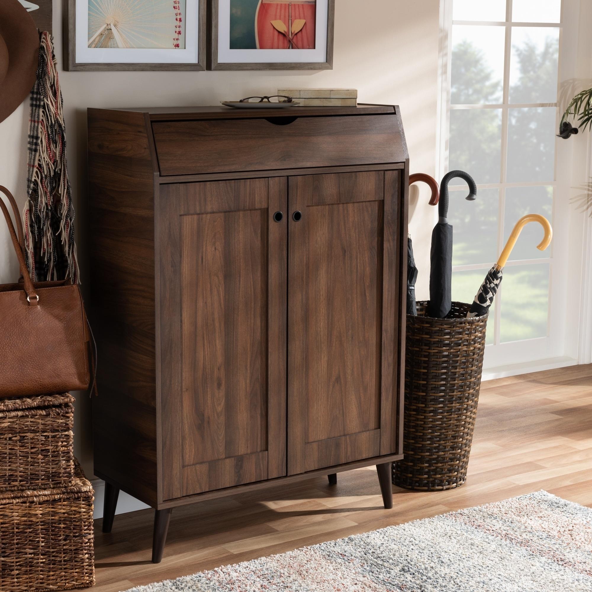Shop Mid Century Walnut Brown 2 Door Shoe Storage Cabinet Free