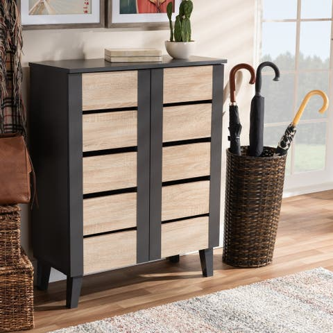 Modern and Contemporary Two-Tone 2-Door Shoe Storage Cabinet