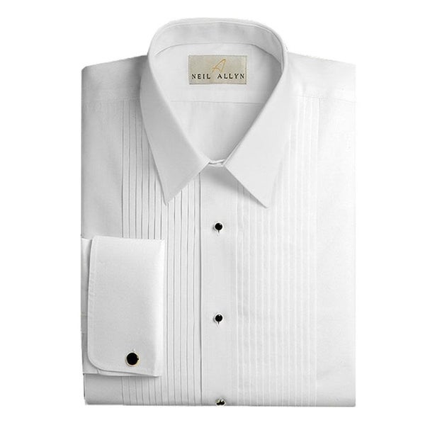 Neil Allyn Mens Tuxedo Shirt Cotton Laydown Collar 1/4 Pleat