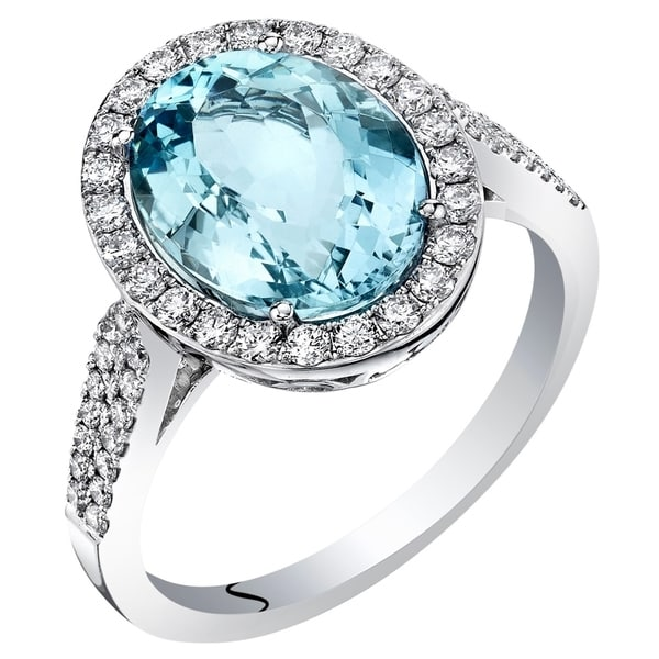 Shop 14K White Gold IGI Certified Aquamarine Diamond Ring