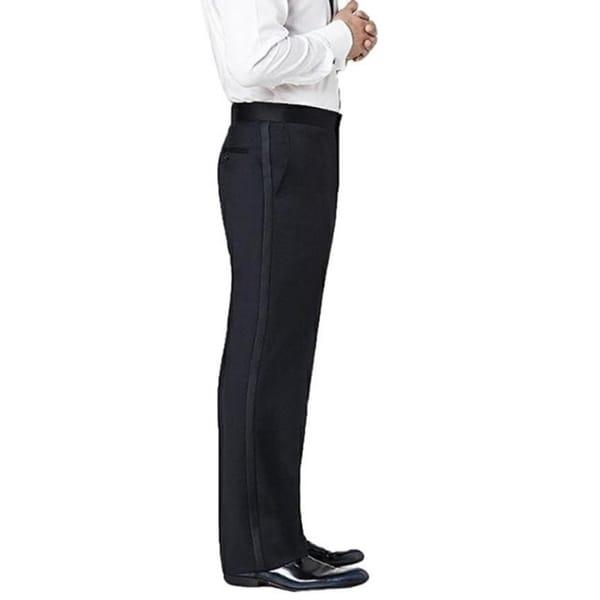 Neil Allyn Men's Flat Front Comfort Waist Satin Stripe Tuxedo Pants. Opens flyout.