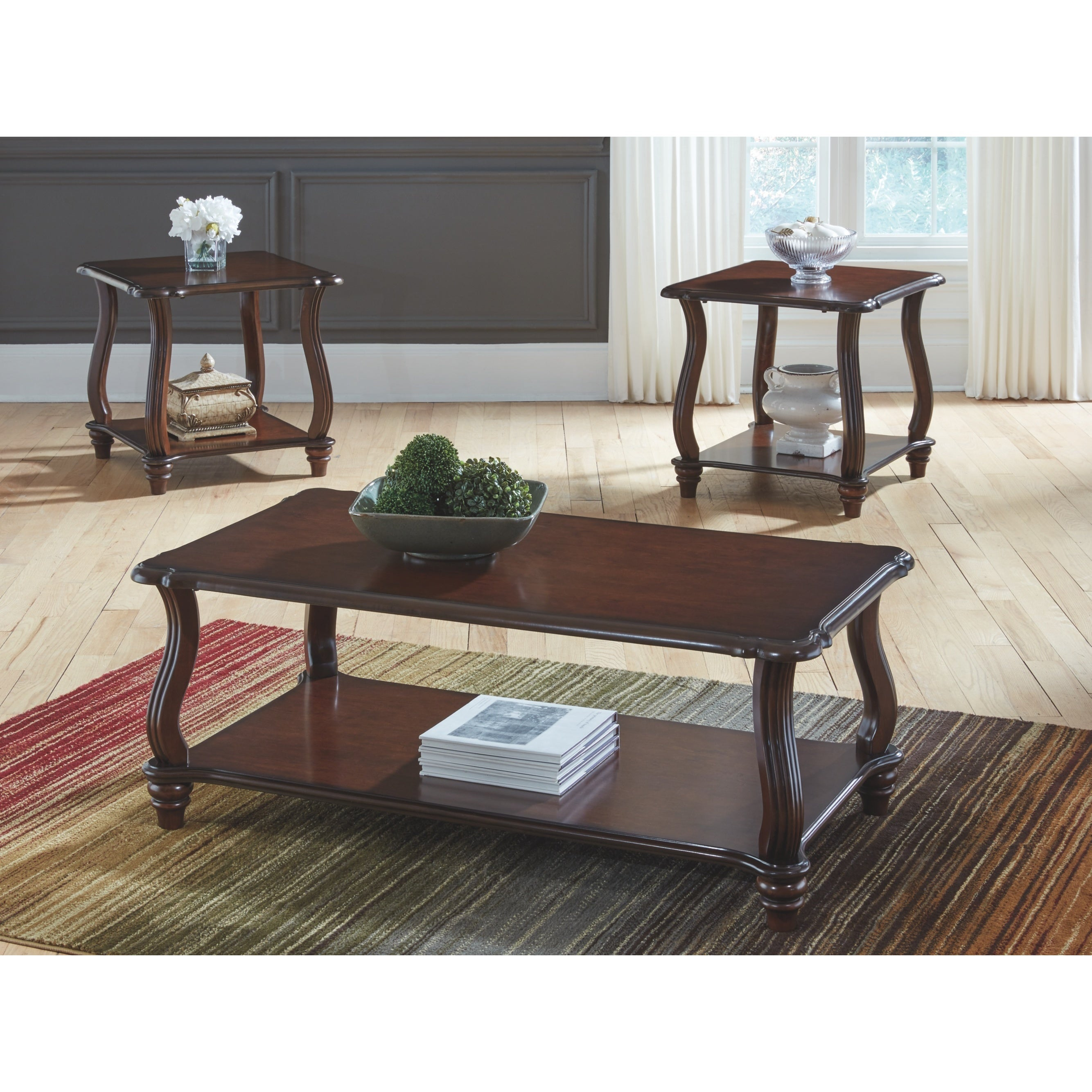Carshaw Dark Brown Coffee Table And Two End Tables Set Of 3
