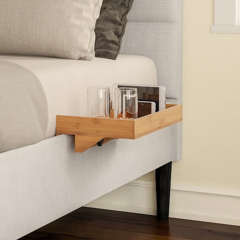 Bedside Shelf- Eco-friendly Bamboo Modern Clamp-on Floating Tray by Lavish Home