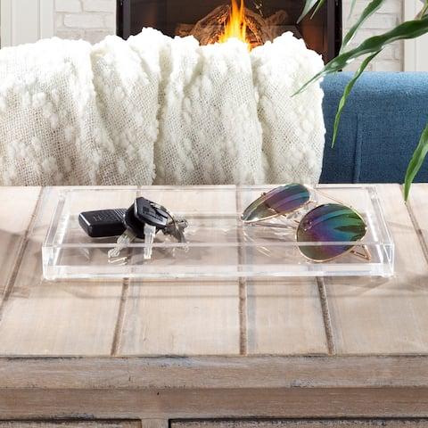 Acrylic Catchall Tray- Decorative Clear Rectangular Modern Minimalist Valet Organizer by Lavish Home
