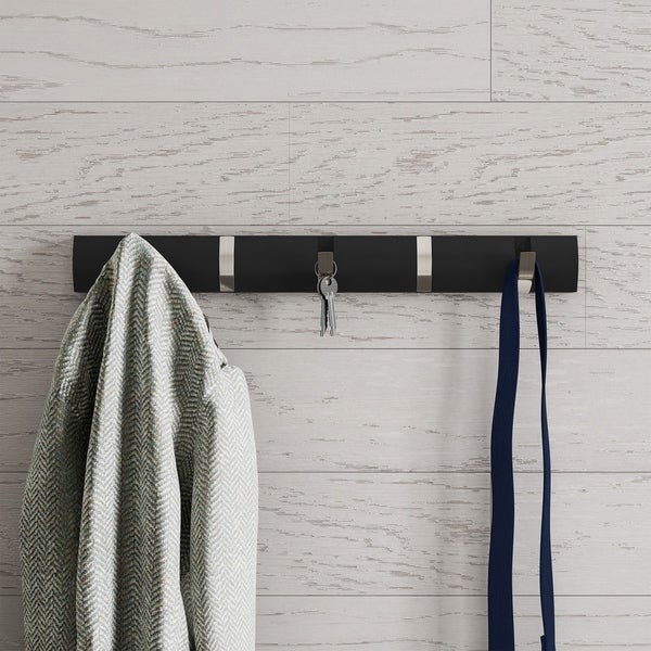 Wall Hook Rail-Mounted Hanging Rack with 5 Retractable Hooks-Storage Organization by Lavish Home