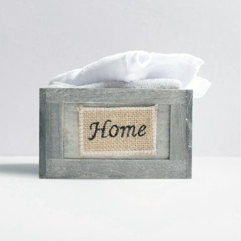 6 Piece White & Grey Washcloth Set in Decorative Wooden Crate Container