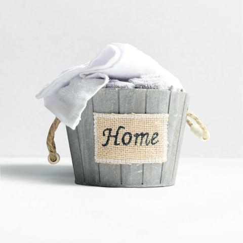 5 Piece White & Grey Washcloth Set in Decorative Wooden Basket Container