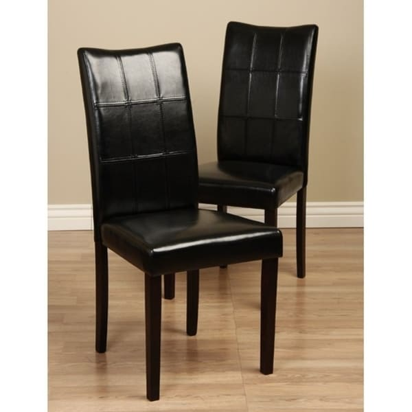 Eveleen Bi-cast Leather Black Dining Chairs (Set of 8)