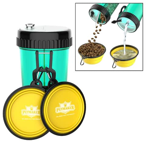 3-In-1 Travel Pet Feeding Containers- 5-PC Set of 2 Collapsible Bowls, 1 Dual Sided Bottle, 2 Carabiner Clips by Petmaker