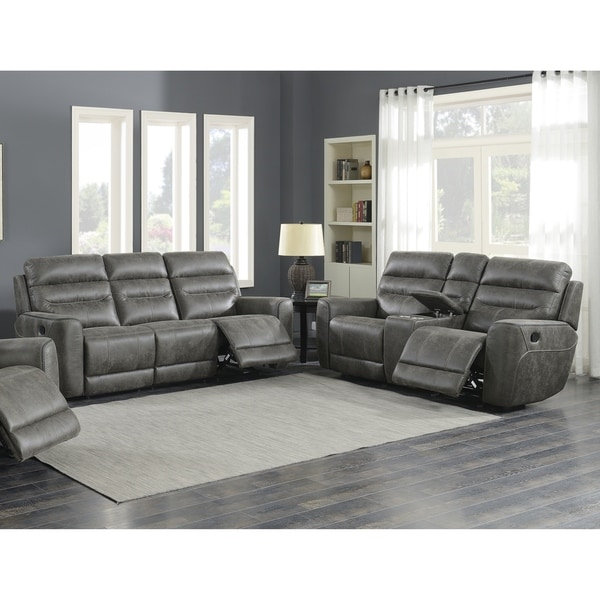 Shop Sintra Charcoal Faux Leather Manual Reclining Sofa
