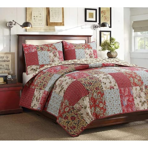Cozy Line Rosemond 3-Piece Floral Patchwork Reversible Quilt Set