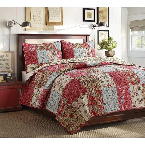 Cozy Line Rosemond 3-Piece Floral Patchwork Reversible Quilt Set. Opens flyout.