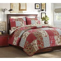 Cozy Line Rosemond 3-Piece Floral Patchwork Reversible Quilt Set - Beige/Aqua/Red