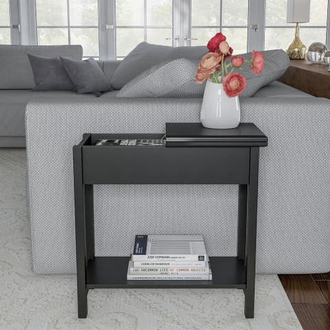 Flip Top End Table-Slim Side Console with Hidden Hinged Storage Compartment and Lower Shelf-Great by Lavish Home