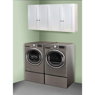 White Shaker 60 inch X 30 inch Laundry Room Cabinet Set