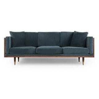 """Kardiel Woodrow Lush Mid-century Modern 87"""" Sofa, Velvet"""