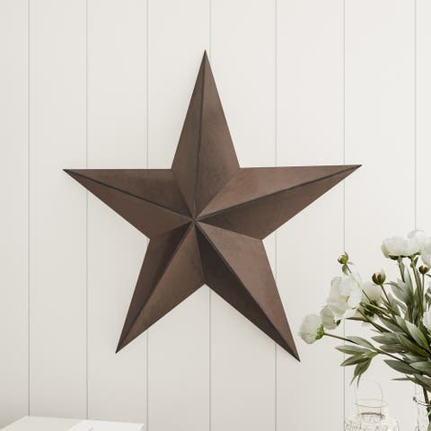 Barn Star-24-Inch Metal Indoor Rustic Farmhouse Americana Hanging Dimensional Wall Decor by Lavish Home (Brown)