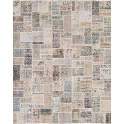 """Hand-knotted Color Patchwork Blue , Grey Wool Rug - 8'0"""" x 10'2"""""""