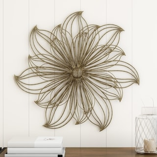 Carson Carrington Metallic LLarge Wire Flower Sculpture Wall Decor