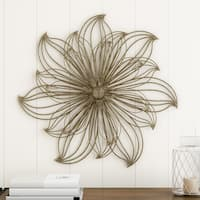Wall Decor-Metallic Layered Large Wire Flower Sculpture Modern Hanging Accent Art by Lavish Home (Gold)