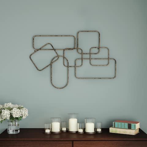 Wall Decor-Metallic Interlocking Squares Geometric Sculpture Modern Hanging Art by Lavish Home (Gold)