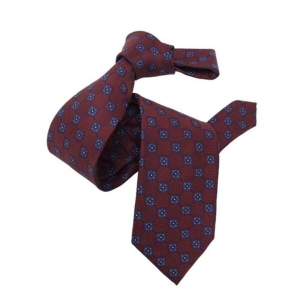 DMITRY Mens Burgundy Patterned Italian Silk Tie