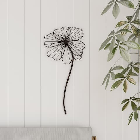 Wall Decor-Rustic Metal Wire Stemmed Flower Sculpture Hanging Accent Art by Lavish Home (Brown)