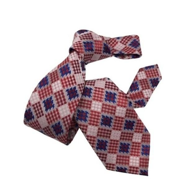 DMITRY Mens Red Patterned Italian Silk Tie