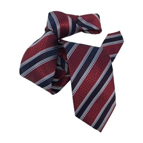 DMITRY Men's Burgundy Striped Italian Silk Tie