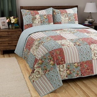 Link to Porch & Den Appy Coral/Aqua/Ivory Patchwork Reversible 3-piece Quilt Set Similar Items in Quilts & Coverlets