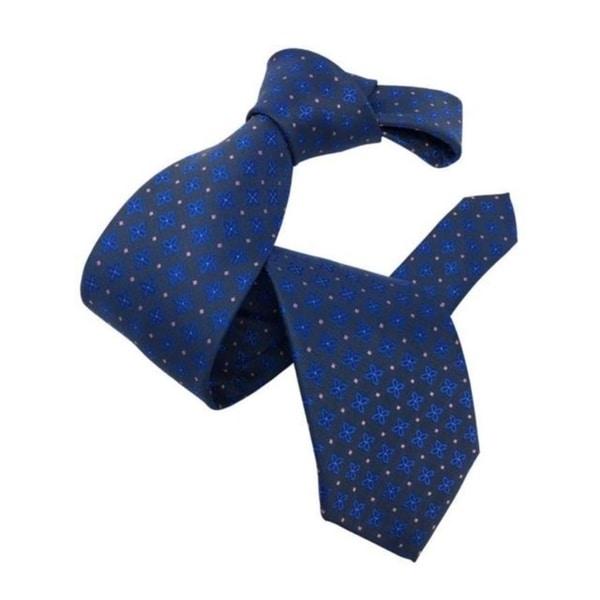 DMITRY Mens Blue Patterned Italian Silk Tie