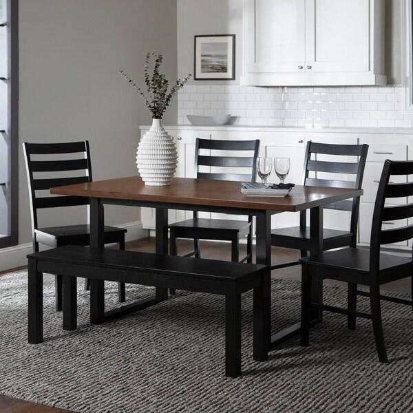 6-Piece Dining Set - Black / Antique Brown