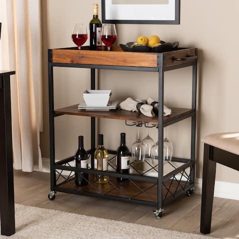 Industrial Oak Brown Bar Cart with Stemware Rack