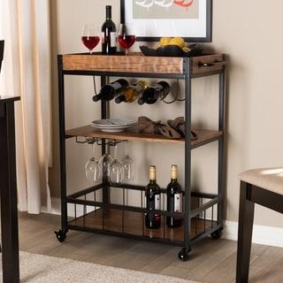 Industrial Oak Brown Mobile Bar Cart with Wine Bottle Rack