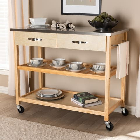 Modern and Contemporary 2-Drawer Kitchen Island Utility Storage Cart
