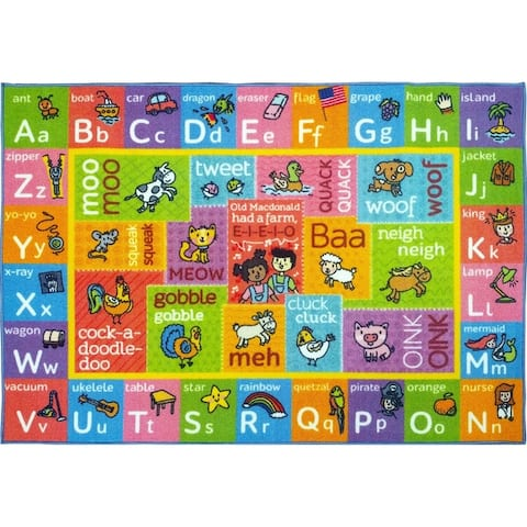 KC Cubs ABC Alphabet with Old McDonald's Animals Educational Learning Polypropylene Kids and Children Area Rug