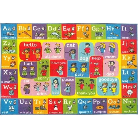 KC Cubs ABC Alphabet ASL Sign Language Educational Learning Polypropylene Kids and Children Area Rug