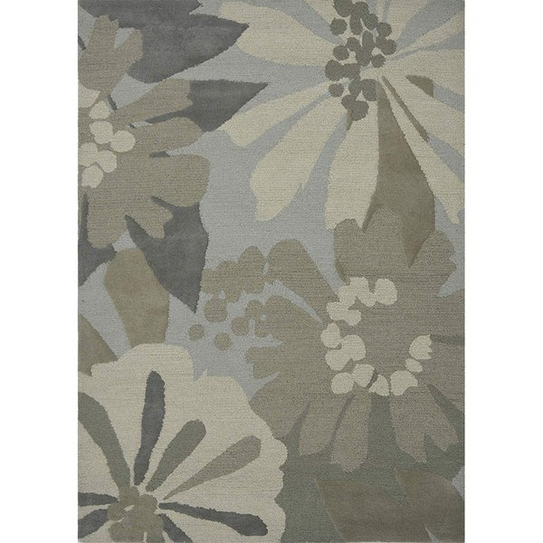 "Livingston Home LH14-343 Wool Tufted Area Rug (Loft Sage, 7""x10"") - 7""x10"""