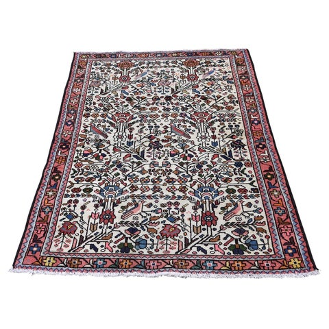 """Shahbanu Rugs Vintage Persian Lilahan With Birds Pure Wool Hand-Knotted Oriental Rug (3'2"""" x 4'8"""") - 3'2"""" x 4'8"""""""