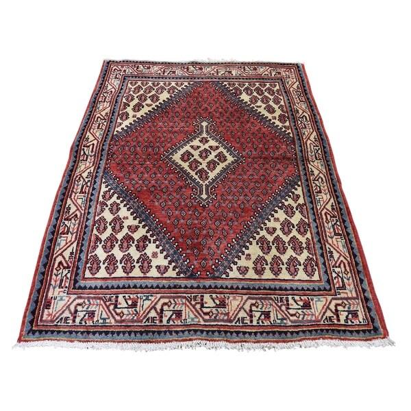 "Shahbanu Rugs Vintage Persian Sarouk Mir Pure Wool Hand-Knotted Oriental Rug (3'7"" x 5'2"") - 3'7"" x 5'2"""