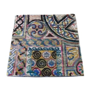 "Shahbanu Rugs Sari Silk With Oxidized wool Square Hand-Knotted Oriental Sample Rug (2'0"" x 2'0"") - 2'0"" x 2'0"""