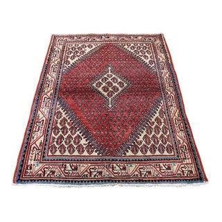 "Shahbanu Rugs Vintage Persian Sarouk Mir Pure Wool Hand-Knotted Oriental Rug (3'7"" x 5'1"") - 3'7"" x 5'1"""