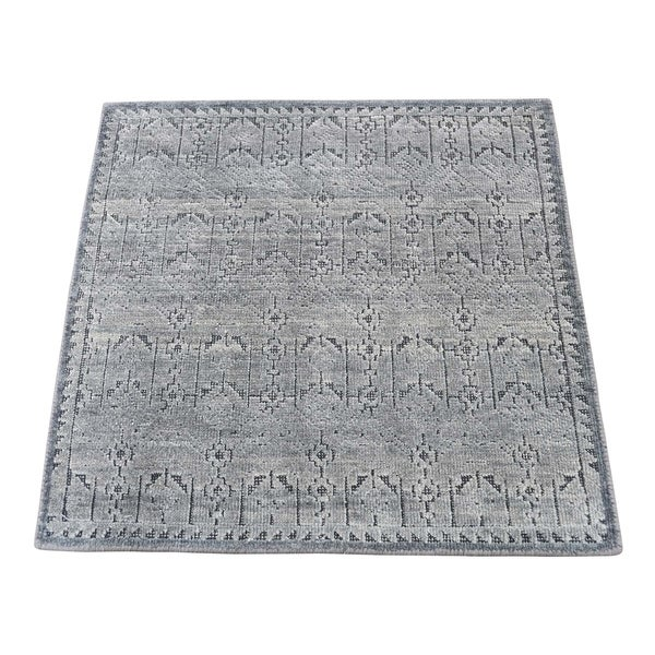 "Shahbanu Rugs Silk With OXidized Wool Hand-Knotted Oriental Sample Rug (2'0"" x 2'1"") - 2'0"" x 2'1"""