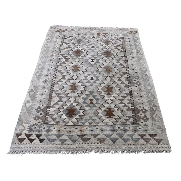 "Shahbanu Rugs Undyed Natural Wool Afghan Kilim Hand-Woven Oriental Rug (3'3"" x 5'3"") - 3'3"" x 5'3"""