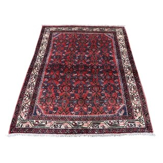 "Shahbanu Rugs Vintage Persian Hamadan Pure Wool Hand-Knotted Oriental Rug (3'4"" x 4'6"") - 3'4"" x 4'6"""