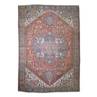 """Shahbanu Rugs Antique Persian Serapi Heriz Exc Cond Hand Knotted Oversize Rug (11'1"""" x 15'9"""") - 11'1"""" x 15'9"""""""