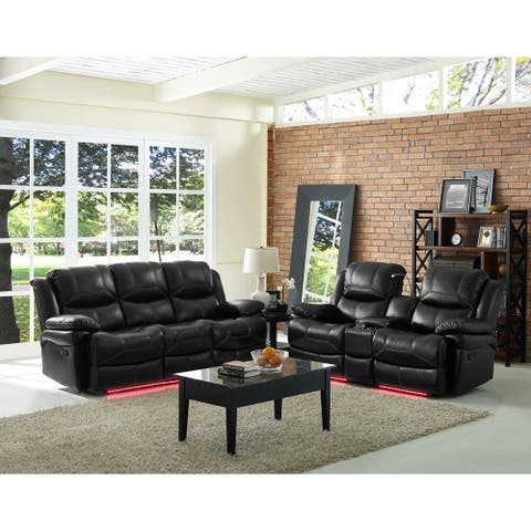 Flynn Premier Black Sofa with Lighted Base and Power Footrest