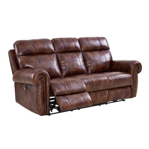 Roycroft Pecan Sofa with Power Footrests