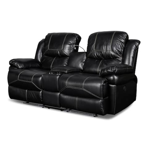 Flynn Black Console Loveseat with Reading Light and Power Footrest