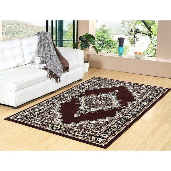 """100% PREMIUM POLYPROPYLENE with JUTE BLEND LATEX BACKING AREA RUGS (5"""" x 8"""",COFFEE) - Brown"""